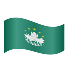 flag of macau waving on white background vector image