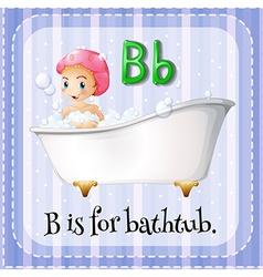 Flashcard letter b is for bathtub vector