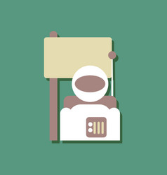 Flat icon design collection astronaut and flag in vector