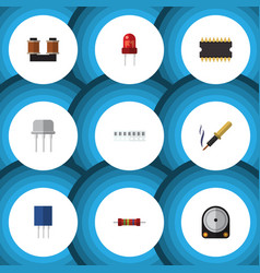 flat icon technology set of coil copper recipient vector image