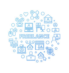 Freelance concept round blue line vector