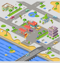 gas station in city map isometric 3d vector image