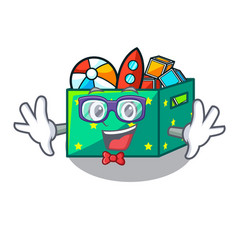 geek cartoon toy boxes in a bedroom vector image