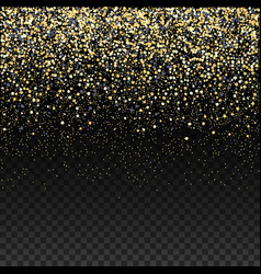 Gold glitter falling confetti on a dark checkered vector