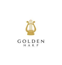 golden harp gold greek lyre music instrument logo vector image