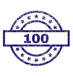 grunge textured 100 stamp seal vector image