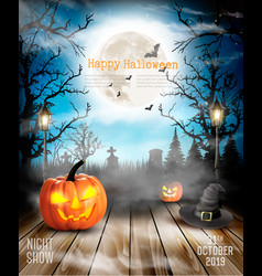 halloween spooky background with pumpkins vector image