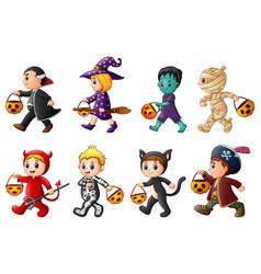 happy halloween set of cute cartoon children in h vector image