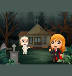 Happy halloween with vampire and mummy cartoon vector