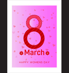 Happy womens day on pink background spring design vector
