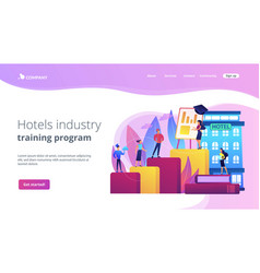 Hospitality courses concept landing page vector