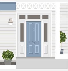 House door front with doorstep window steps lamp vector