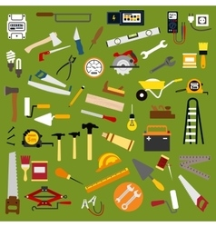 Industrial hand tools and equipment flat icons vector image
