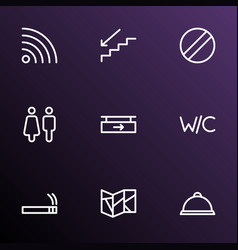 Information icons line style set with wc vector