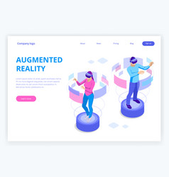 Isometric man and woman wearing virtual reality vector