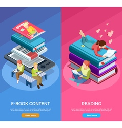 Isometric Vertical Reading Banner Set vector