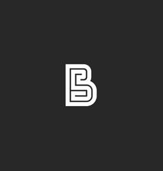 Letter b logo maze monogram wedding invitation vector