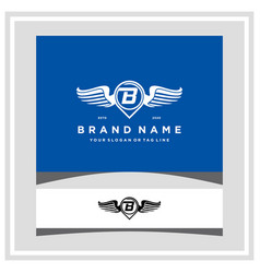 Letter b pin map wing logo design concept vector