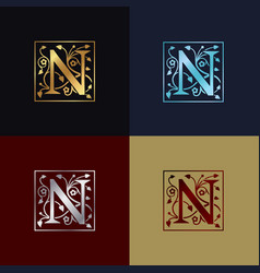 letter n decorative logo vector image