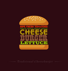 Lettering cheeseburger recipe infographic vector