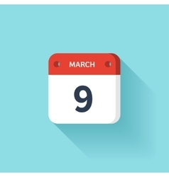 March 9 Isometric Calendar Icon With Shadow vector image