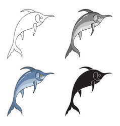 Marlin fish icon in cartoon style isolated on vector