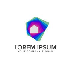 media real estate logo design concept template vector image