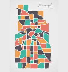 Minneapolis minnesota map with neighborhoods and vector