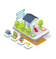 mobile banking isometric vector image