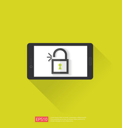 mobile phone with open unlock padlock icon vector image