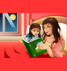 Mother telling a bedtime story vector