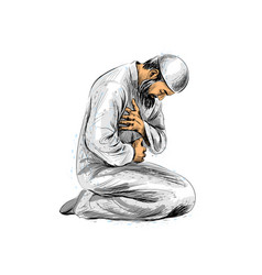 Muslim man praying vector