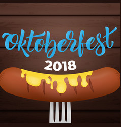 oktoberfest 2018 bavarian sausage with mustard on vector image