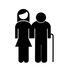 Old grandfather with daughter avatar silhouette vector