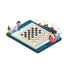 Online board game isometric phone with checkers vector