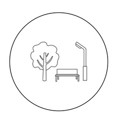 Park icon in outline style isolated on white vector