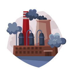 pollutive industry processing plant emitting smoke vector image