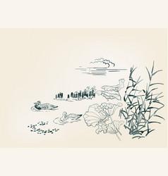 pond ducks burdock nature landscape view sketch vector image