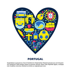 portugal concept with icons in flat style vector image