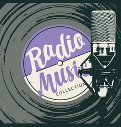 Poster for music radio with vinyl record and mic vector