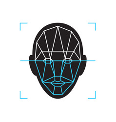 recognition icon face id identity biometric vector image