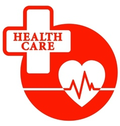 Red health care icon with heart vector