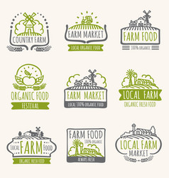 Retro farm market signs vintage fresh organic vector