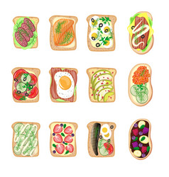 Sandwich breakfast toast set bread slices toasted vector