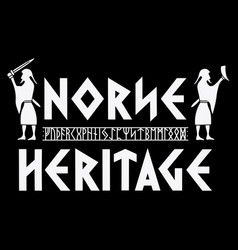 Scandinavian design with viking warriors northern vector