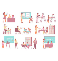 school art subjects icons vector image