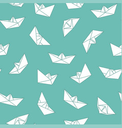 seamless origami pattern with drawing paper vector image