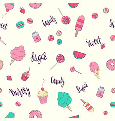 seamless pattern with desserts vector image