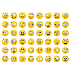 Set emoticons emoji smile icons isolated vec vector