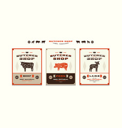 Set of templates label for butcher shop vector